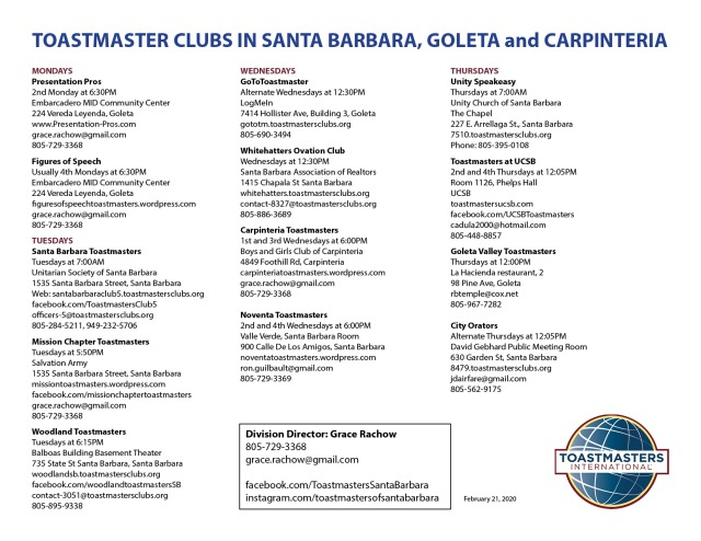 Toastmaster Clubs in SB revised 2-21-2020